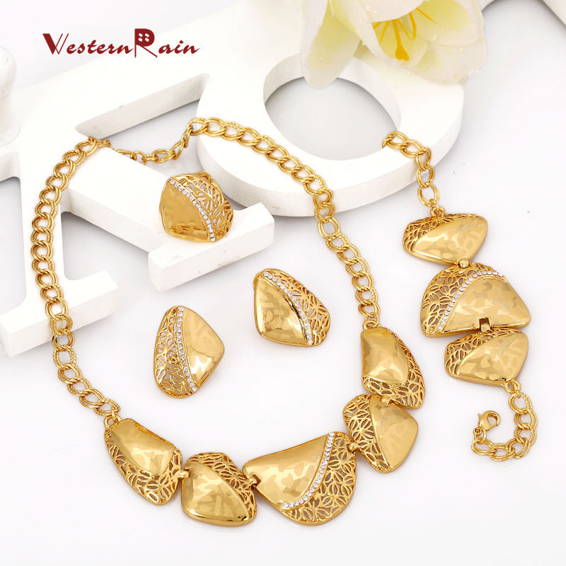 WesternRain New Fashion Gold Plated Small Gold Heart and Circle Series Sweet Alloy jewelry sets For Women's Free Shipping A405