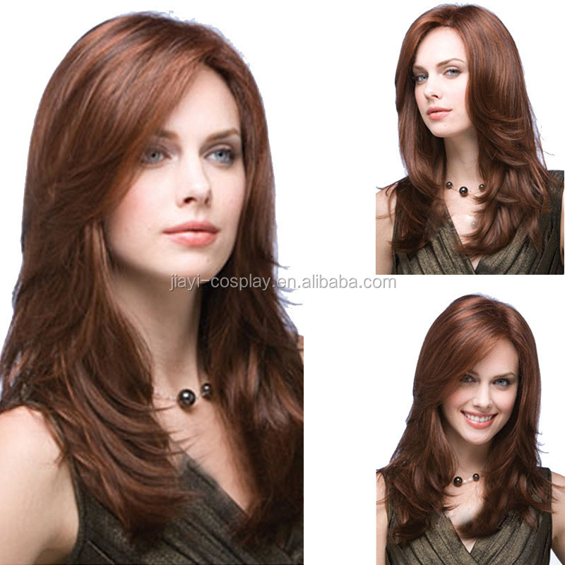 hot sale European Style Glamorous synthetic brown long Human Hair Wigs