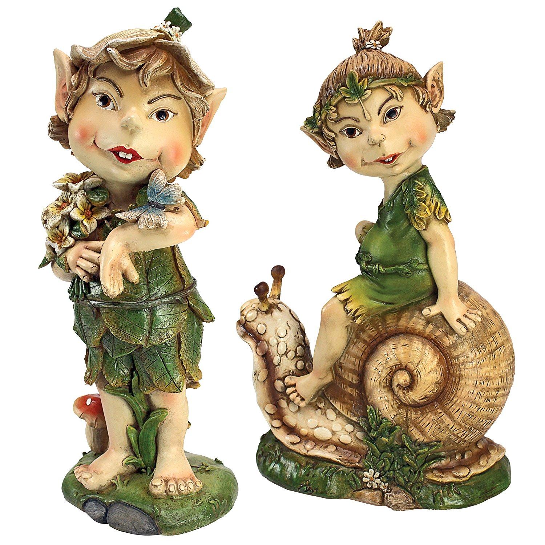 Garden Gnome Statue - Pixie Perry & Pete the Elfin Gnome - Lawn Gnome