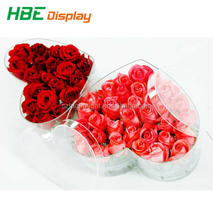 wholesale custom small storage display clear acrylic flowers box with lid