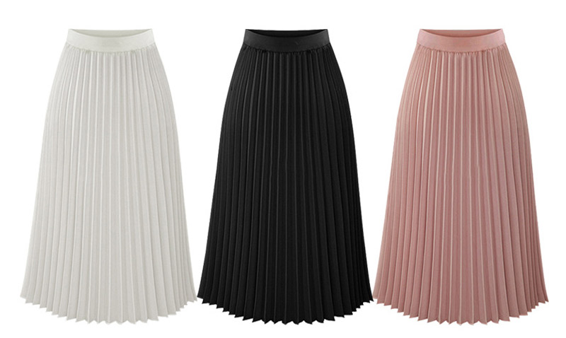 c07f11d8e Women's High Waisted Skirt Long Female Thin Chiffon Pleated Skirt ...