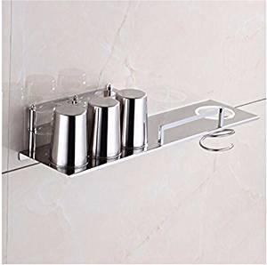 304 stainless steel bathroom multifunctional toothbrush Cup holders storage racks wall mount hair dryer rack DiTu85cL D-fence + hair dryer-stainless steel Cup