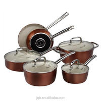 Steel Copper Finish Cookware Pots and Pans Set