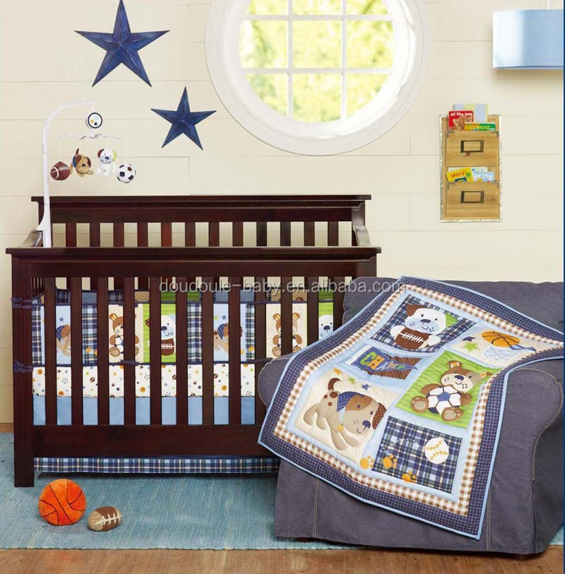 blue color baby cot bedding set 2016 new design 4-piece bumper set
