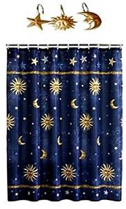 Get Quotations Sun Moon Stars Shower Curtain With 12 Silver Hooks
