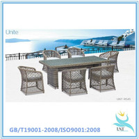 Outdoor Patio Wicker Furniture All Weather Resin 7-Piece Dining Table & Chair Set New