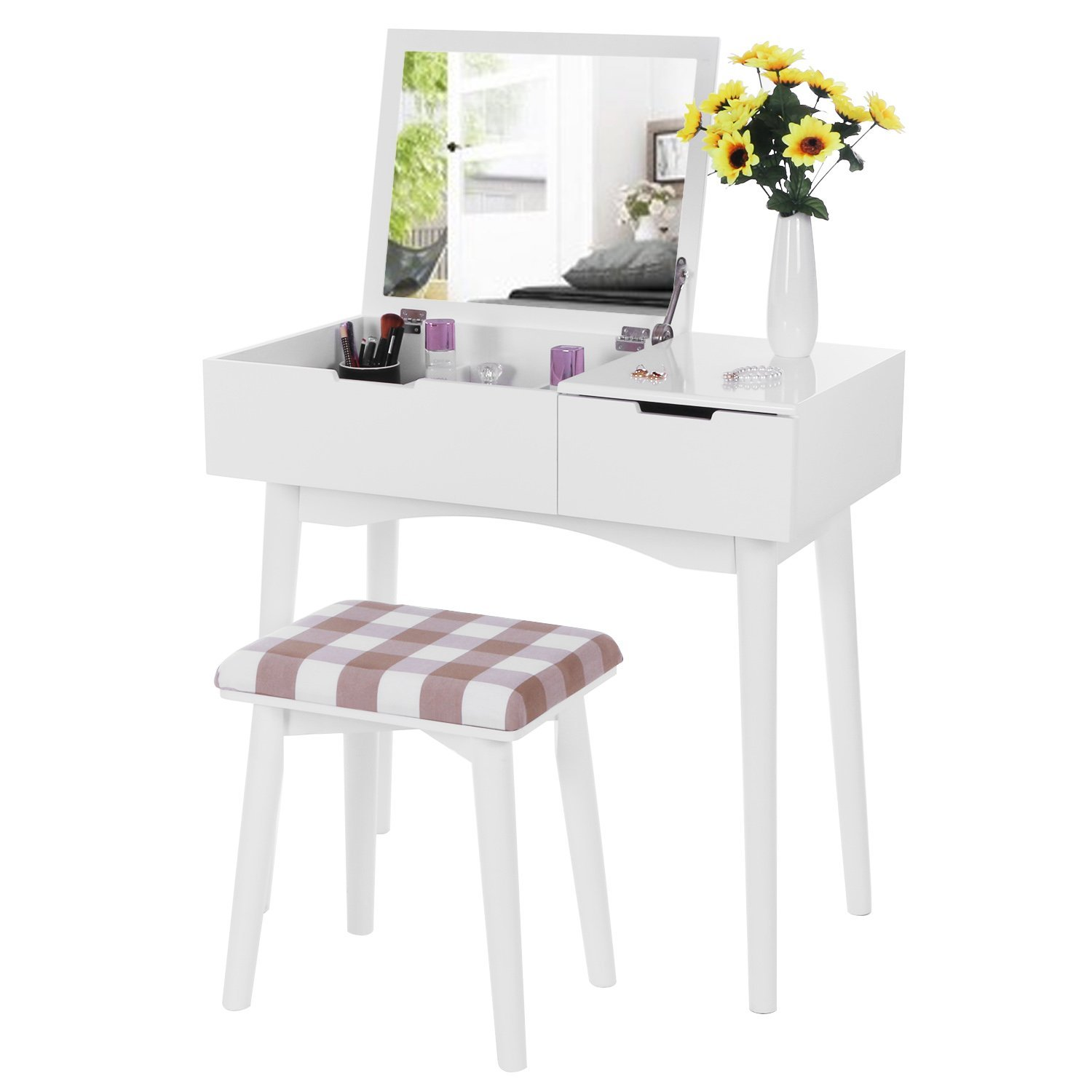 Peachy Buy Joveco Makeup Desk Vanity With Flip Top Mirror With Ncnpc Chair Design For Home Ncnpcorg