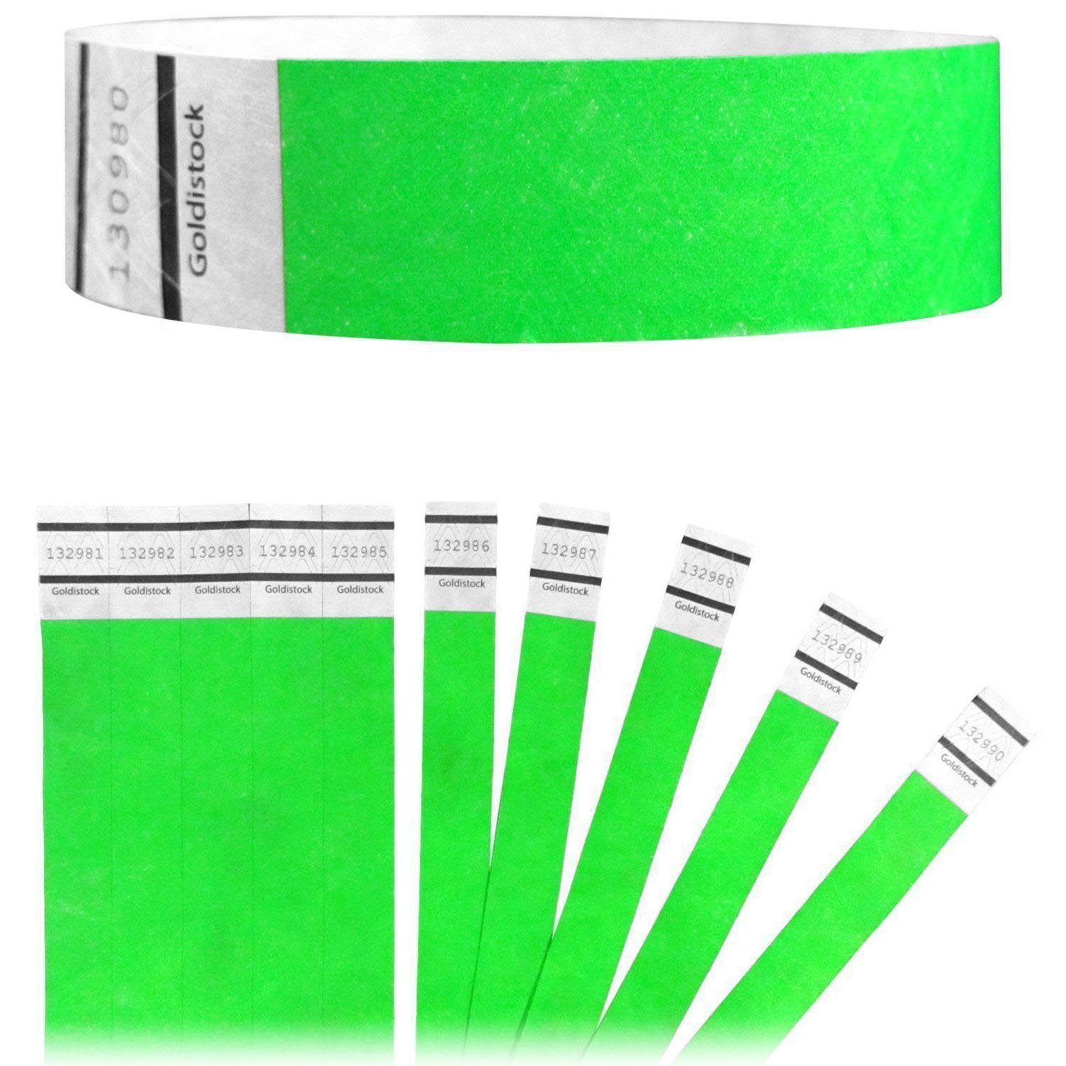 "Goldistock Original Series - 3/4"" Tyvek Wristbands Value Pack Vivid Neon Green 1,000 Count - Event Identification Bands (Paper - Like Texture)"