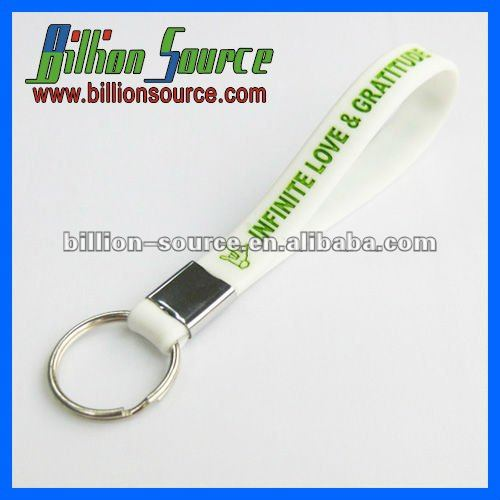 Eco-friendly silicone lanyard wrist strap for keys with keyring