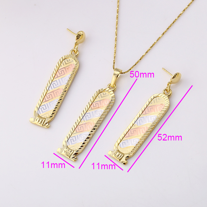 61588 Xuping Simple Shape Designs Modern Gold Bar Jewelry Sets In