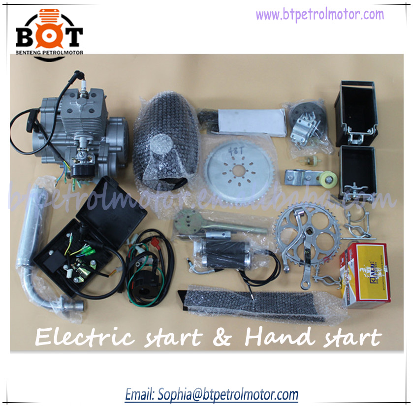 2 stroke 80cc bike gas engine kit electric start and hand for How to make an electric bike with a starter motor
