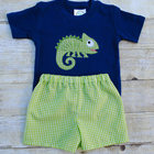 Hot sale kids boys appliqued animal print T shirt and shorts summer clothing set boutique children boys cute outfits