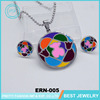 Wholesale Yiwu Cheap Jewelry Sets Colorful Round Bear Pattern Necklace And Earring For Woman