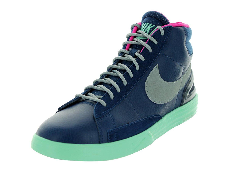 75c3c71bcc5b Get Quotations · Nike Men s Lunar Blazer Brave Blue Slvr Grn Glw Pink Fl  Casual Shoe