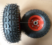 skidproof durable rubber wheel 10 inch metal pneumatic tyre for wholesaler