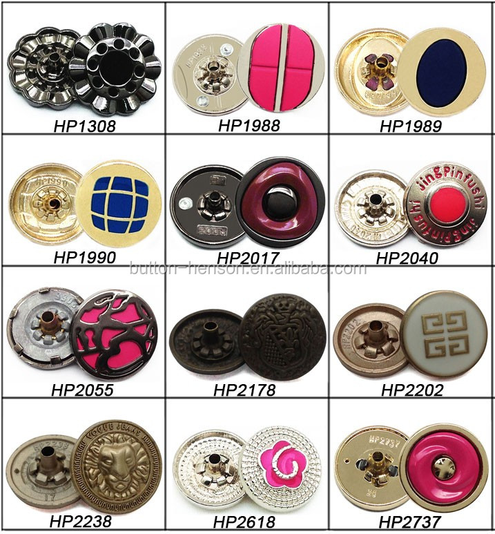 custom enamel color metal fastener 633 prongs four parts snap button
