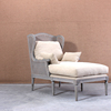 Wooden Christopher Chaise Lounge with footstool for living room furniture