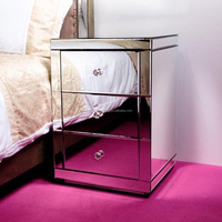 Mirrored Bedside Table With Soft Closing 3 drawers