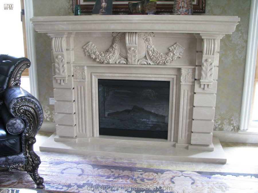 Wall Hung Fire Surrounds: Wall Mounted Artificial Hand Carved Marble Fireplace