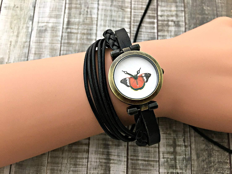 Butterfly Wrap Bracelet Leather Watch, Leather Wrap Bracelet Watch, Leather Wrap Art Watch, Vintage Retro Wrap Bracelet Watch, Wrap Genuine Leather Watch 038