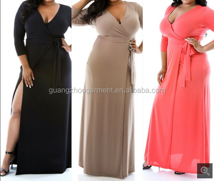 2015 Plain Color Long Sleeve Deep V Neck Wrap Plus Size Slit Side