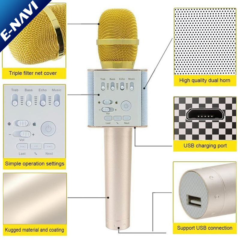 Blue tooth Mini Wireless Portable Karaoke Microphone for Kids Professional High Quality Outdoor Hifi Audio Speakers Wireless