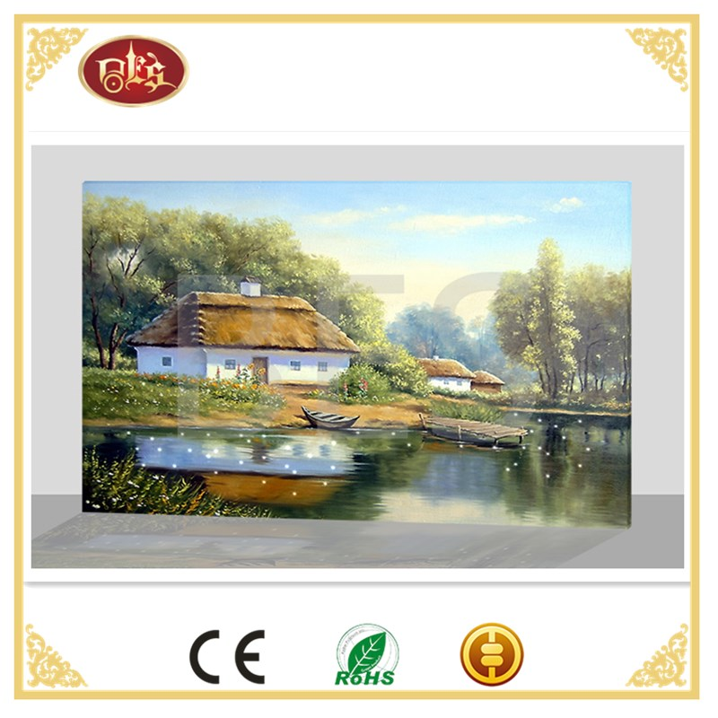 Spring Landscape Canvas Painting,Spring Scenery LED Canvas Wall Art