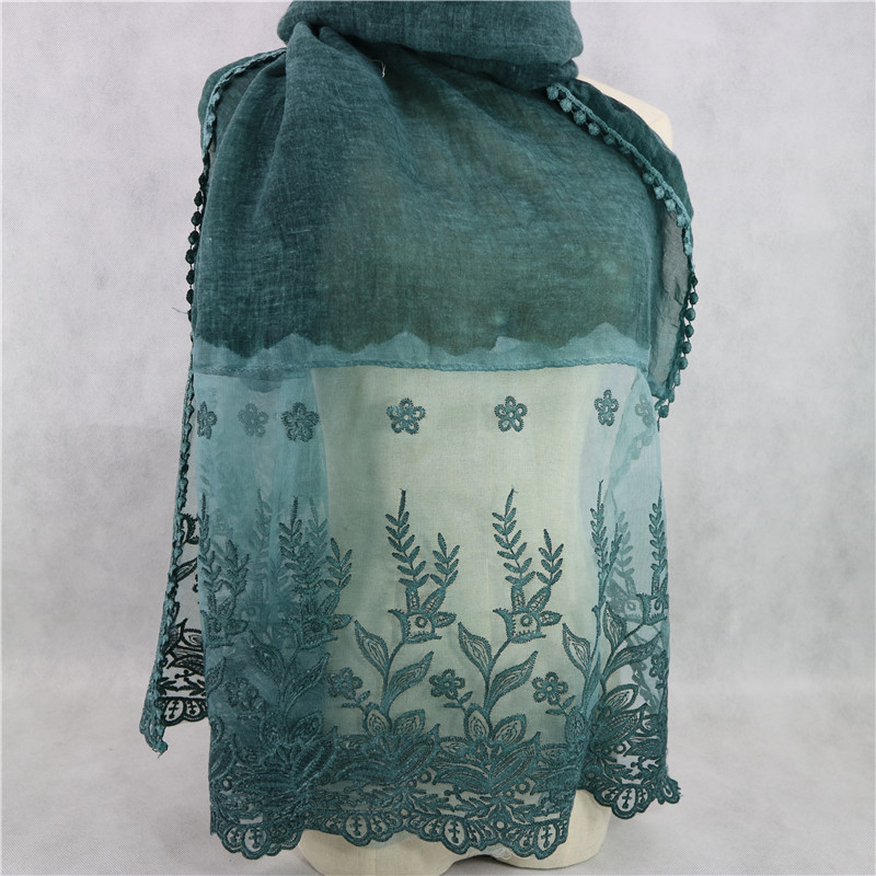 New Arrival Plain Cotton Hijab Foulard Lace Tie Dye Scarf Transparent Embroidery Scarves