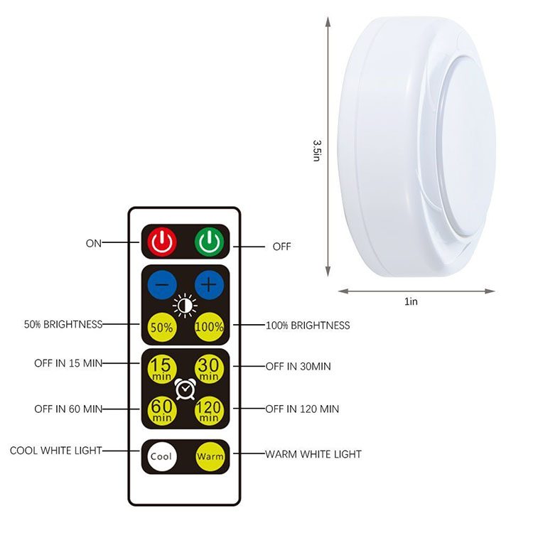 Battery Operated Wireless LED Puck Lights with Remote Control under cabinet