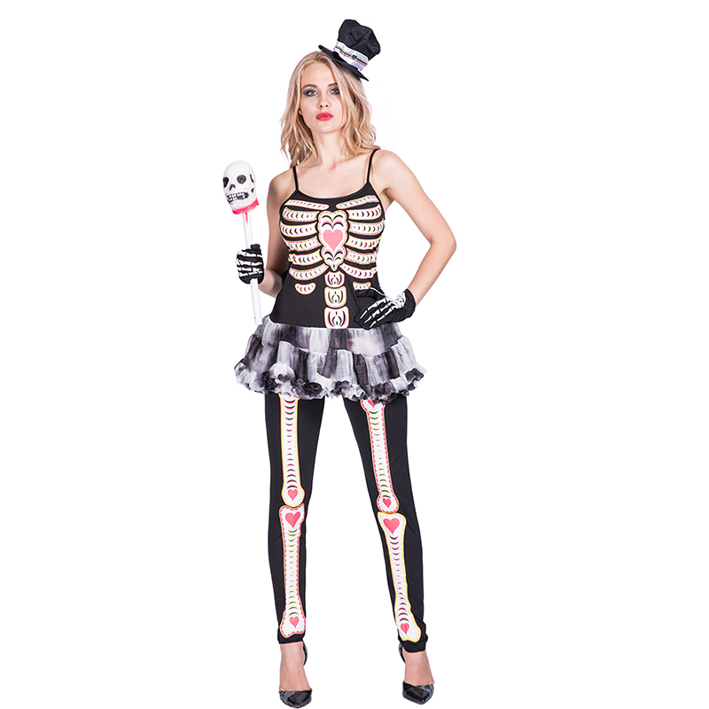 Women ladies skeleton halloween fancy dress costumes for carnival cosplay party