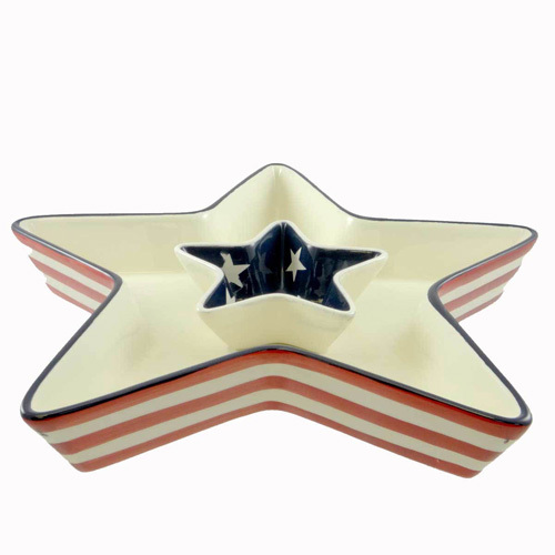 Unique Patriotic Design Star Shape Ceramic Dessert Plate Wholesale