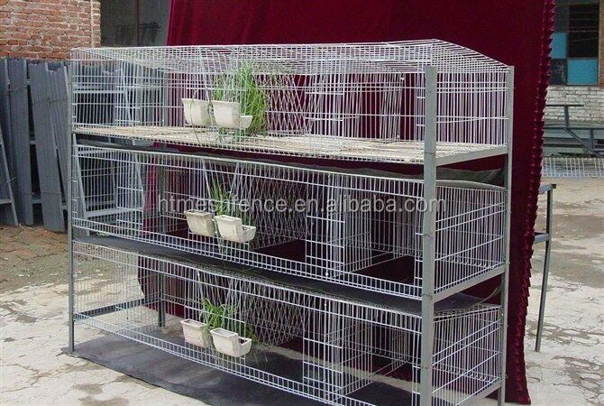 Haotian Factory New style high quality commercial rabbit cage/ Stainless steel rabbit cage/Metal Mother And Baby Rabbit Cage