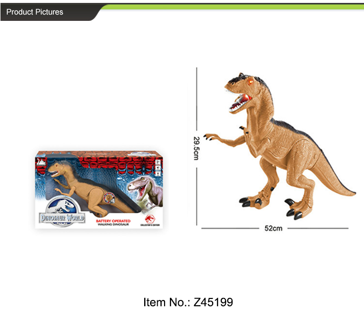 Battery operated walking toy plastic simulation dinosaur for kids
