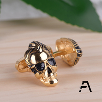 Skull Head Cufflinks with Gold Painting