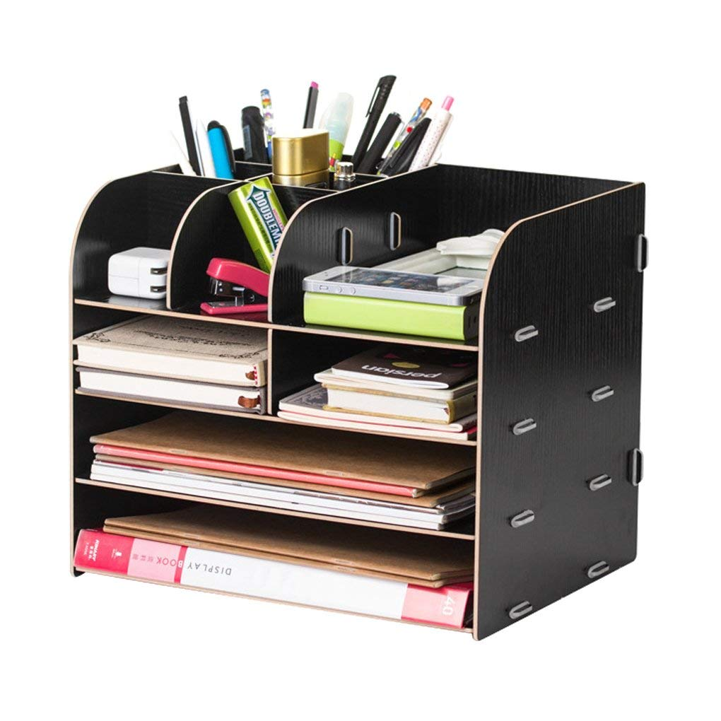 Desk Organizer Wooden Home Office Workspace Desktop Desk Organizer Filing Organiser Paper File Folder Racks Holders Tray Tidy Book Shelf Pen Holder Desk Caddy Bookcase Files Document Display Rack