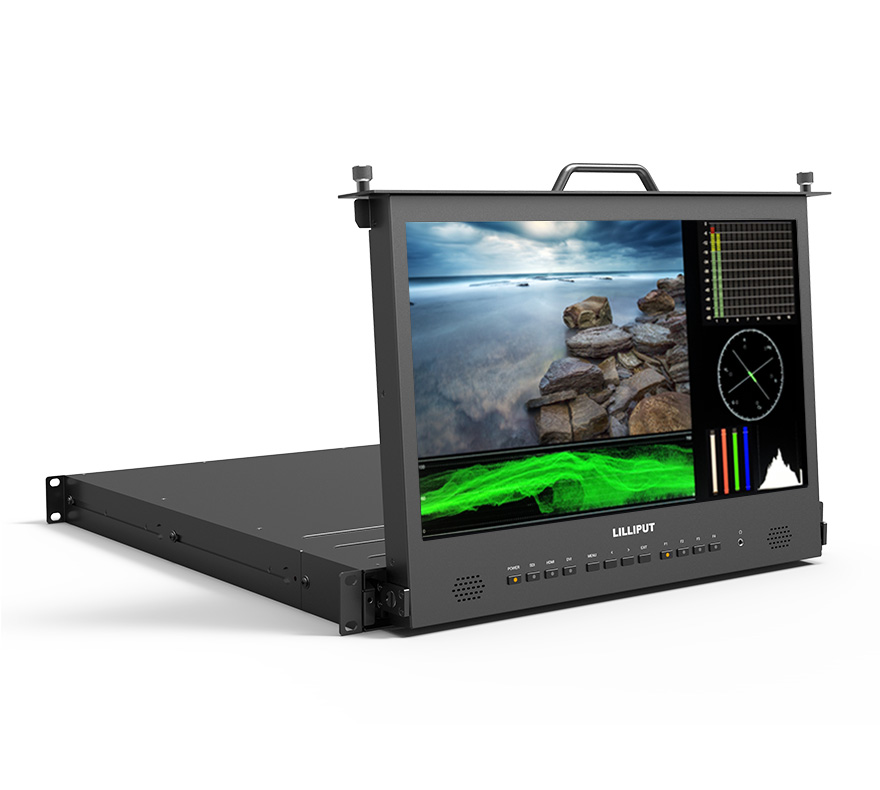 "Lilliput 17.3"" Full HD pull-out Rack monitor with waveform, vector."