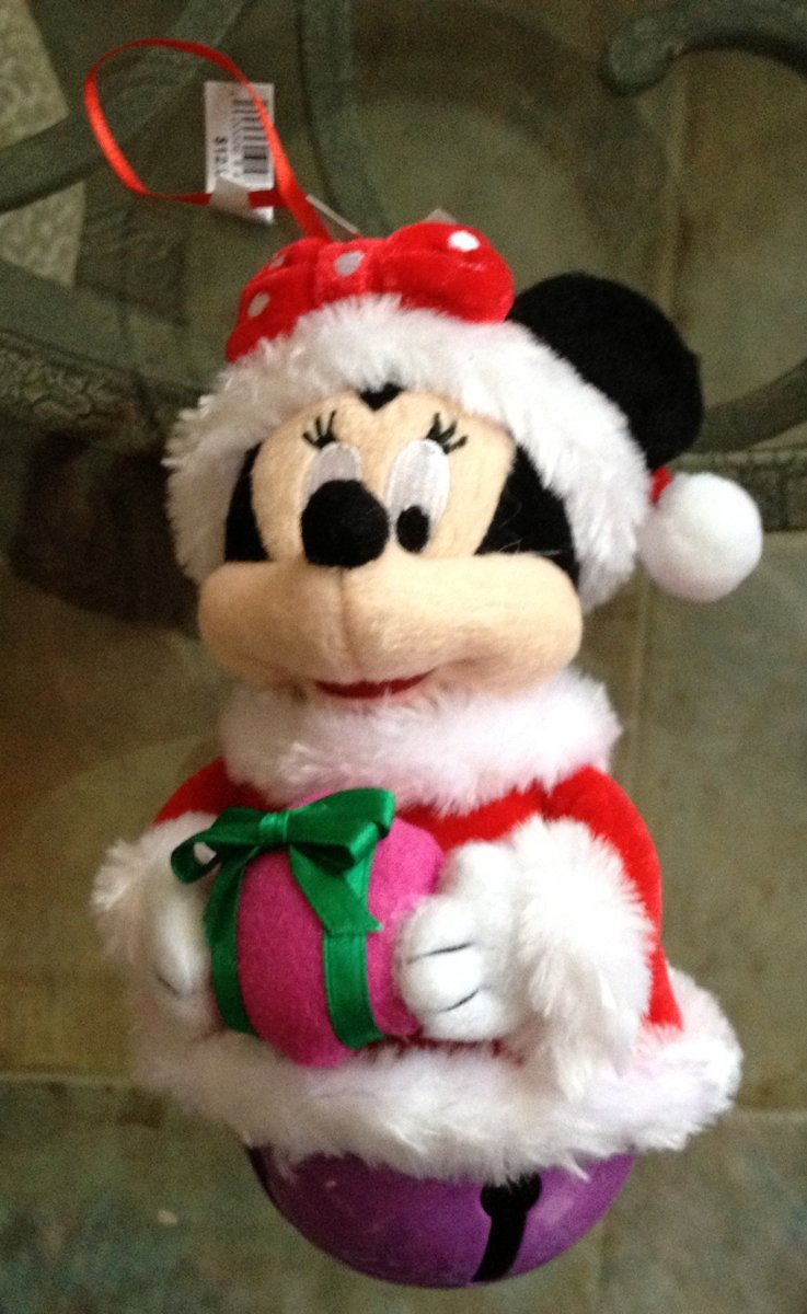 Disney Parks Minnie Mouse Plush Large Jingle Bell Ornament