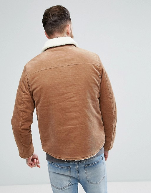 KY tan Fleece Lined Cotton corduroy Borg lining and collar Press-stud placket Functional pockets men jackets winter