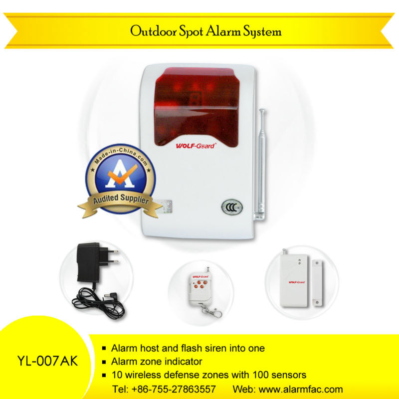 Wireless Perimeter defense GSM control panel siren alarm system with LED flash light