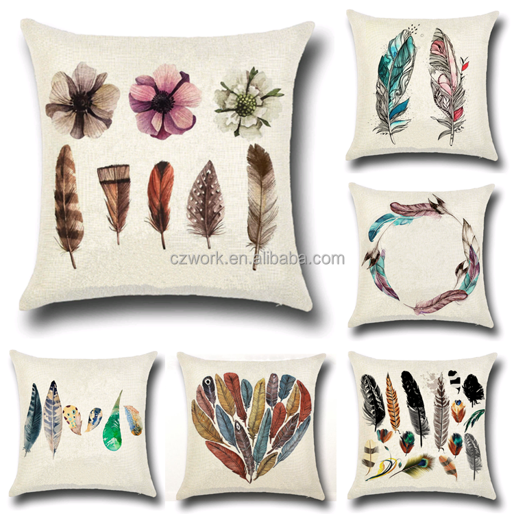 Square 18inch Cotton Linen One Side Feather Printed Cushion Cover For Home Sofa Pillow Cover