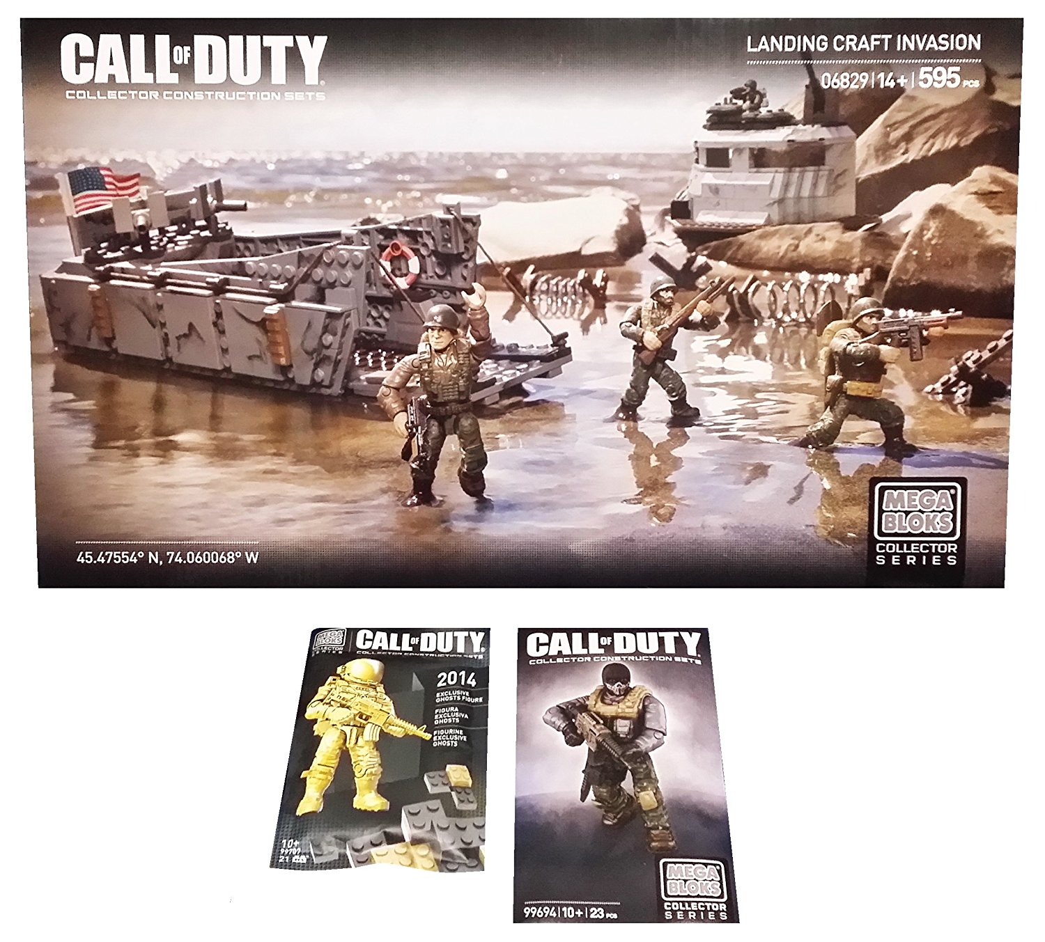 Mega Bloks Call of Duty Bundle - Landing Craft Invasion (06829) & New York Comic Con (NYCC) Exclusive Gold Ghosts Astronaut & Ghosts Tactical Combat Mini Action Figure Set (1 of Each)