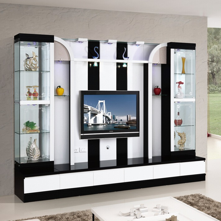 Beautiful Modern Living Room Mini Bar Furniture Design LCD Tv Unit Furniture 016# Tv  Unit Design