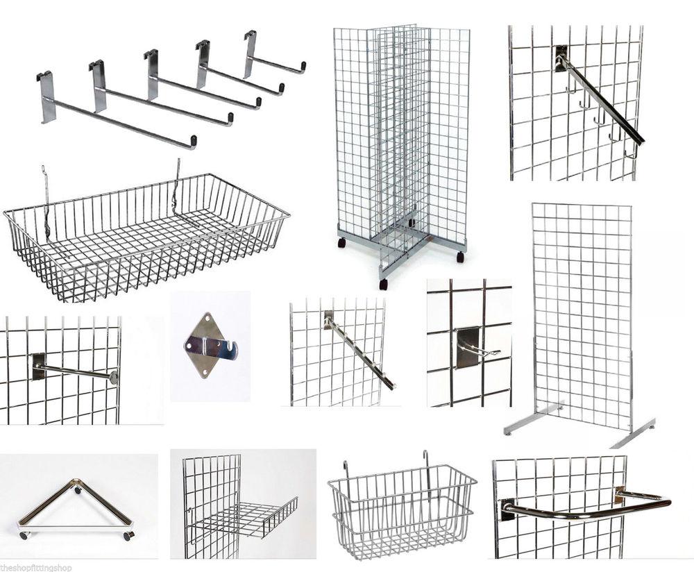 gridwall mesh display panels chrome accessories hooks