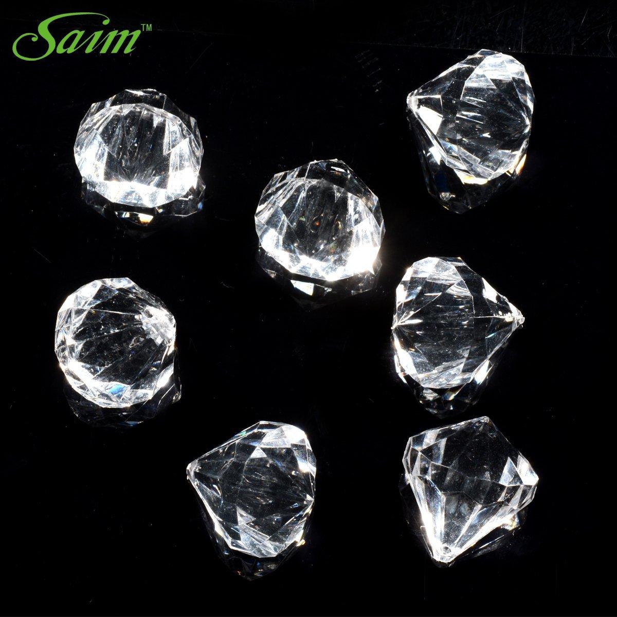Saim 1 Pound 100 Pcs 20 Carat Clear Acrylic Diamonds - Big Diamonds for Table Centerpiece Decorations, Wedding Decorations, Bridal Shower Decorations