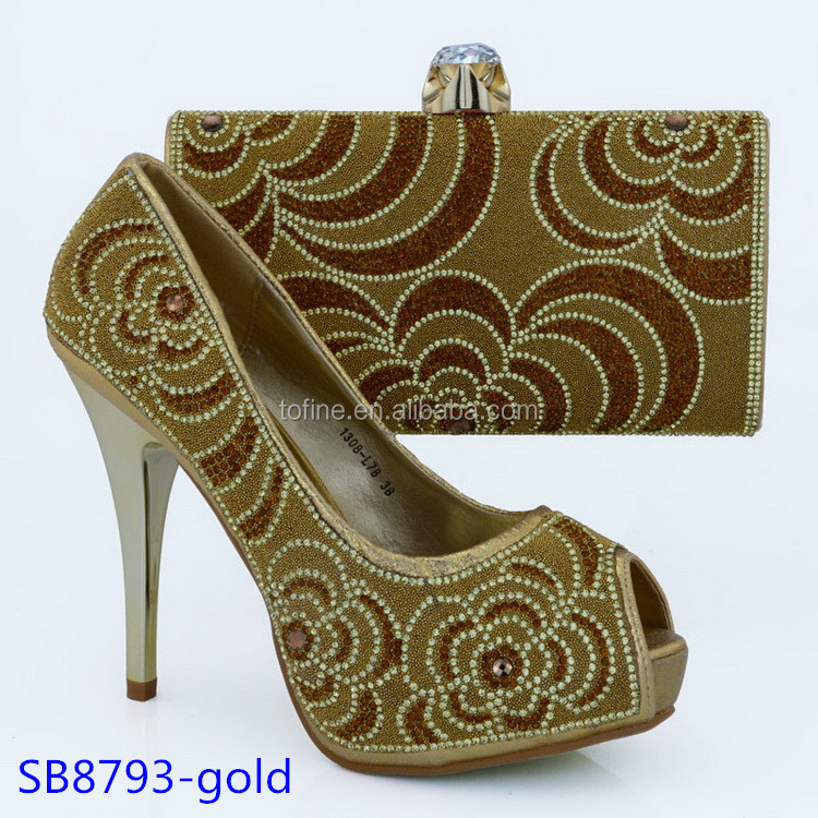 indian style lady wedding party shoes and bag set fashion gold women shoes baff57a97