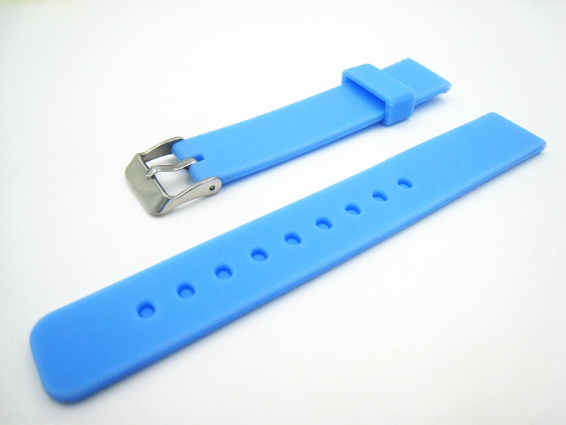 New Arrived Silicone Light Blue Watch Strap 16mm 2015 Fashion Men Women High Quality Rubber Watch Band Free Shipping