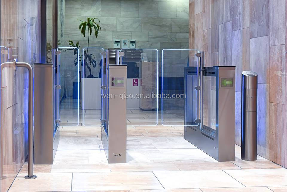 CE Approved Access control system RFID/Ticket /Barcode /Card full automatic Flap barrier Turnstile/swing Turnstile gate