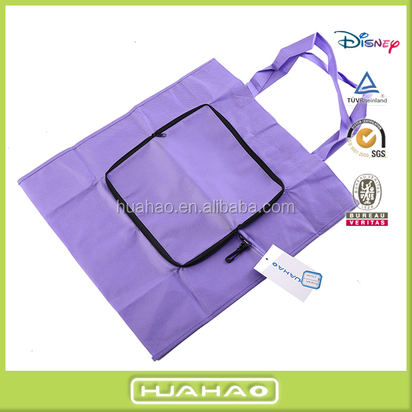 promotional non woven shopping foldable tote bag with zipper
