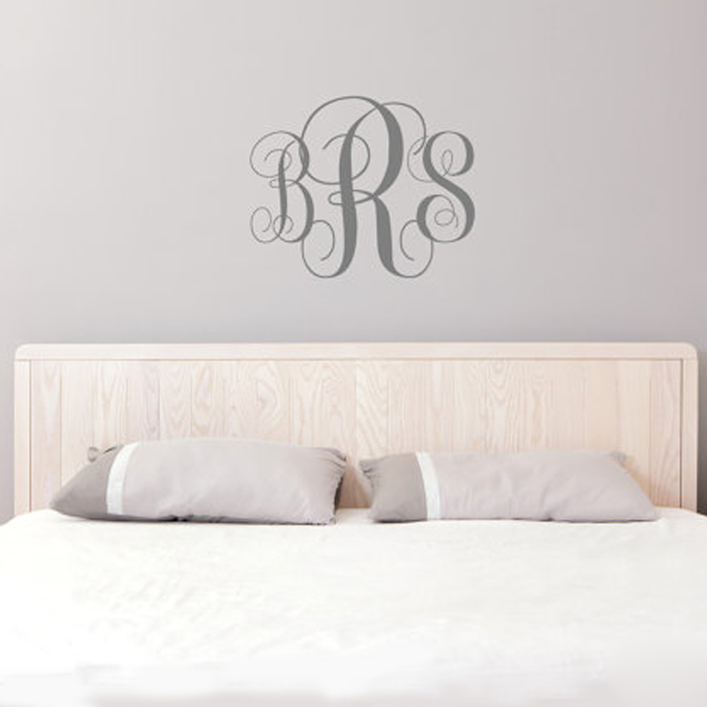 buy monogram wall decal personalized. Black Bedroom Furniture Sets. Home Design Ideas