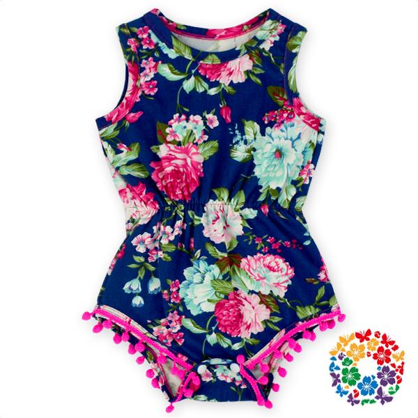 91a130ac5dec 2016 New Fashion Baby Clothes Romper Cotton Pom Pom Navy Floral Milk Fiber  Fabric Kids Jumpsuit